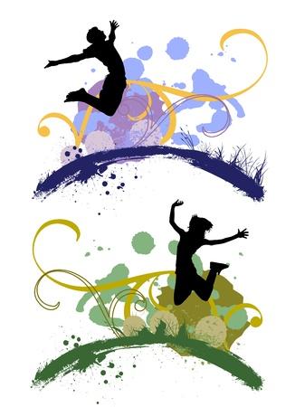 jugendliche gruppe: Springen Menschen Illustration