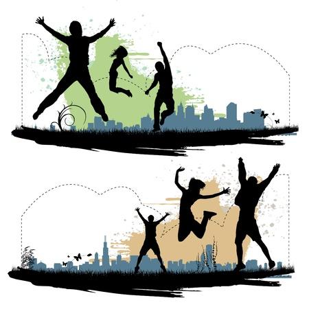 donna entusiasta: gente che salta Vettoriali