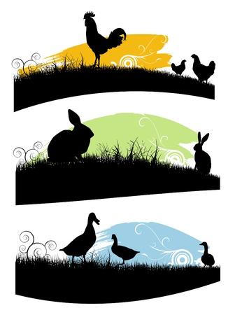 silhouette lapin: ensemble des animaux de ferme