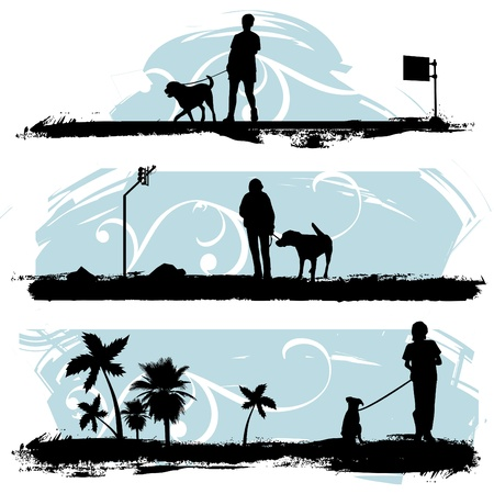 dog silhouette: a man walking his dog