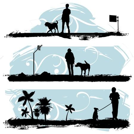 marcheur: un homme promenait son chien