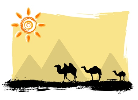 pyramid of the sun: camels in the desert