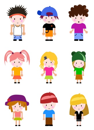 cartoon kid set Stok Fotoğraf - 9878250
