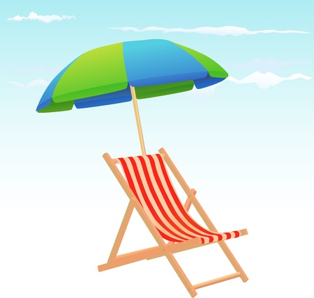 two objects: Beach chairs and umbrella