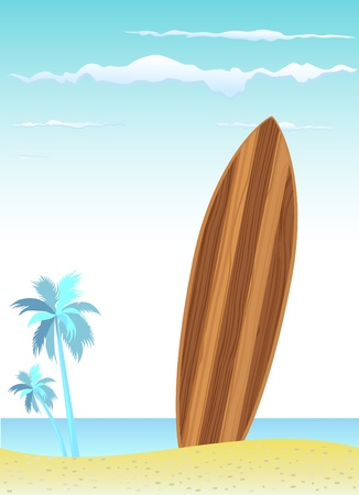 wooden surfboard with beach  Vector