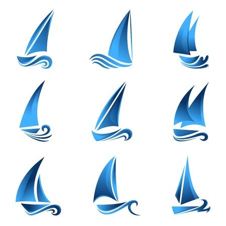 barca a vela: set simbolo di barca a vela  Vettoriali