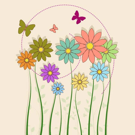single flower: flowers with butterfly Illustration
