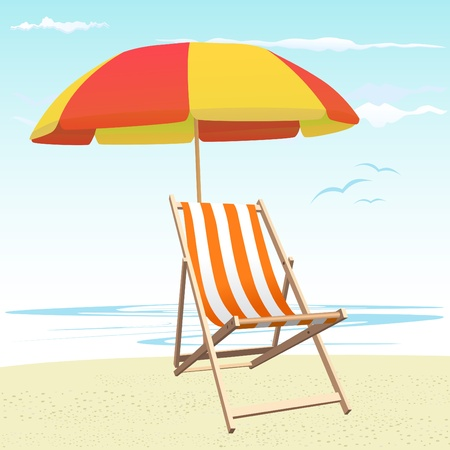 Beach chairs and umbrella Vector