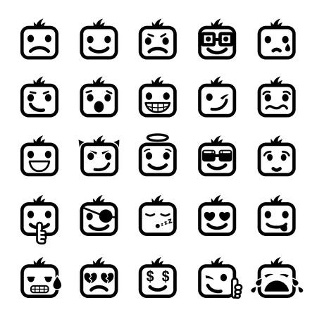 persona confundida: Conjunto de 25 caras sonrientes. caracteres de hombres