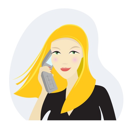 donna con telefono: Business donna al telefono Vettoriali