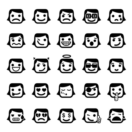 ojos llorando: Conjunto de 25 caras sonrientes. caracteres de las mujeres  Vectores