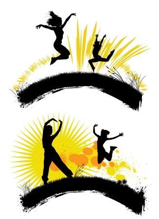 人々 をジャンプ  イラスト・ベクター素材