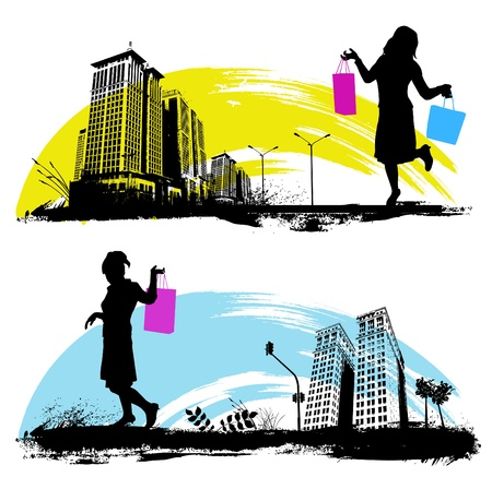 shopping in the city Stock Vector - 10035066