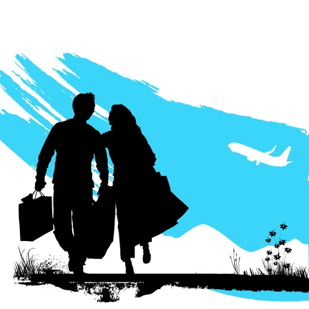 couple wallking Vector