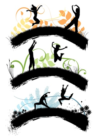 grass silhouette: jumping people