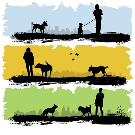 dog silhouette: people with dog