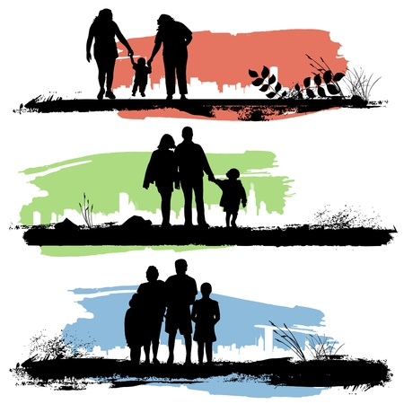 black family: set of family Illustration