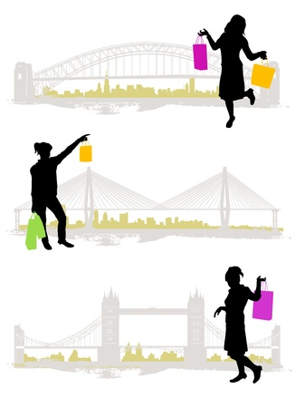 shopping in the city Stock Vector - 10035077
