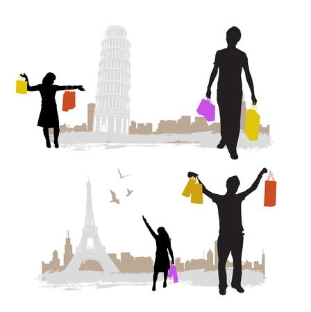 shopping with city tower Vector