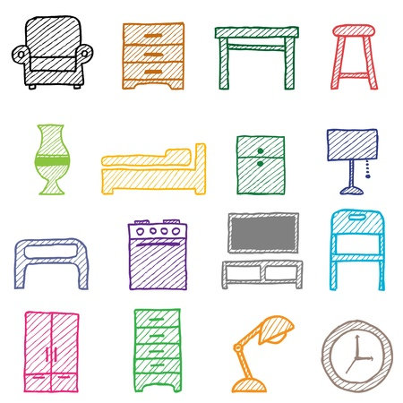 futurist: hand drawing furniture icons