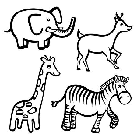 giraffe silhouette: cartoon animals