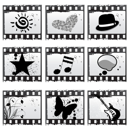 snapshot: film with symbols vector