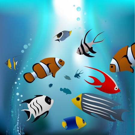 exotic fish: cartoon tropical fishes