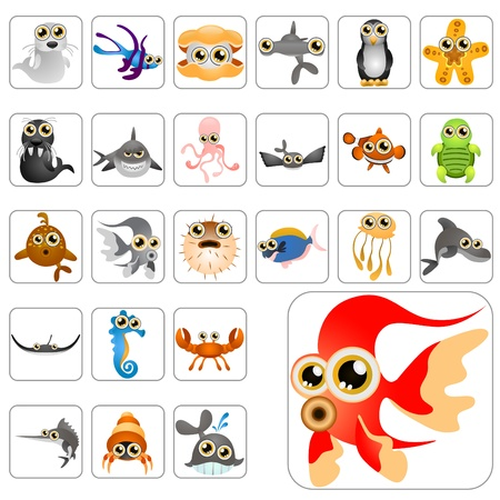 cartoon animals big set Vector