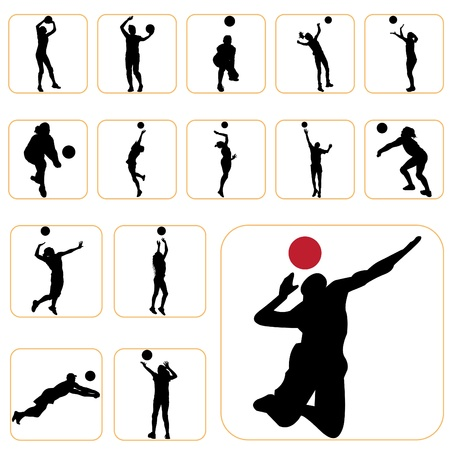 human body silhouette: volleyball set