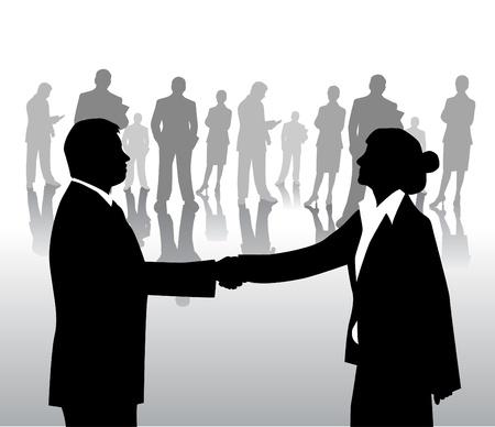 mani che si stringono: accordo commerciale Vettoriali