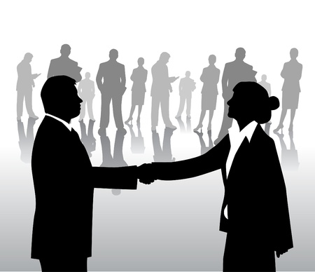 business people shaking hands: business arrangement  Illustration