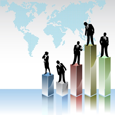 power projection: business peoples with statistic graphics  Illustration