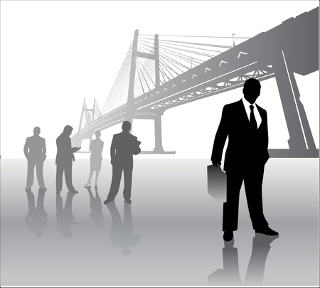 back lit: business team with bridge