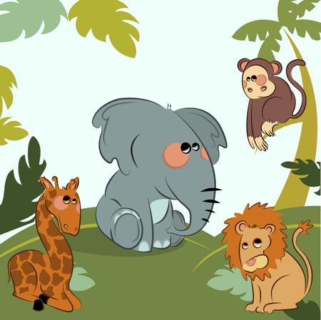 cartoon wild animals in the jungle Stock Vector - 10103178