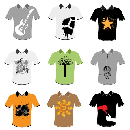 back screen: t shirt design set