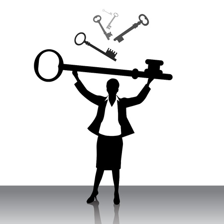 real leader: business woman lifting key Illustration