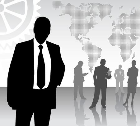 woman shadow: business team  Illustration