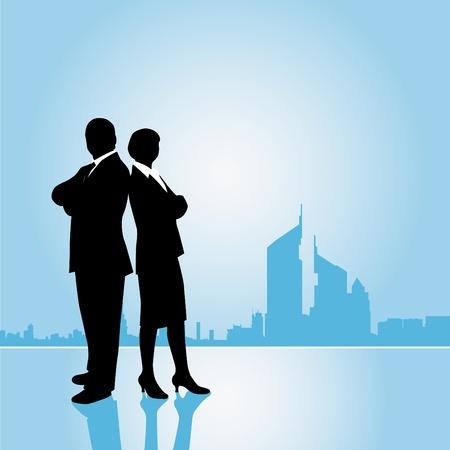 silueta hombre: equipo de negocios