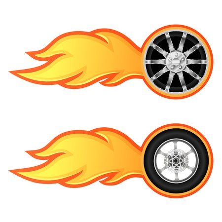 motorcycle wheel: Car and motorcycle wheel with flame  Illustration
