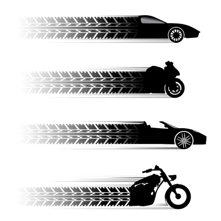 motorbike race: car and motorbike symbols.  Illustration