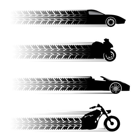 silueta moto: s�mbolos de coches y motos.