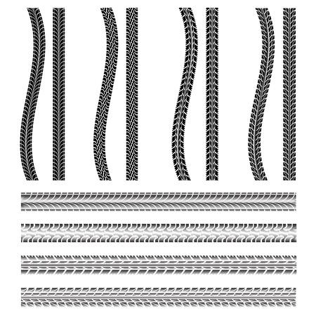 pisada: Varios neum�ticos de autom�vil Vectores