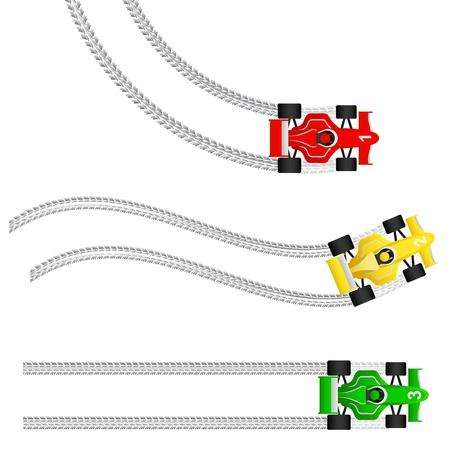 autos de carrera con varias huellas de neumáticos Ilustración de vector