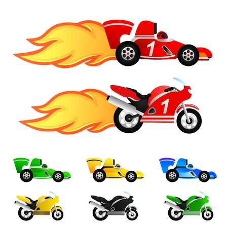 speedway: race car and motorcycle. Different colors