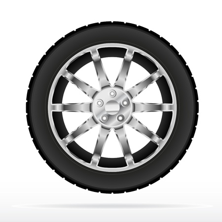 tyre: Car wheel and tyre  Illustration