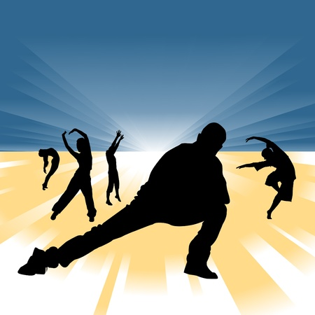 reaching: dancing people