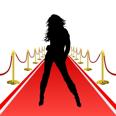 girl in red dress: woman on red carpet Illustration