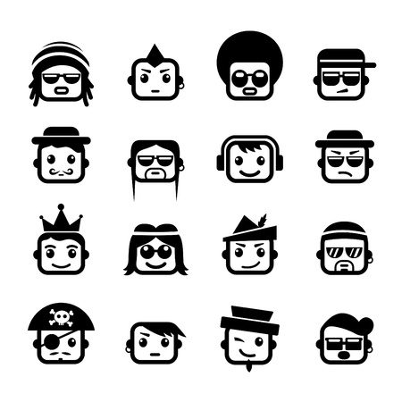 Smiley faces man  characters  Vector