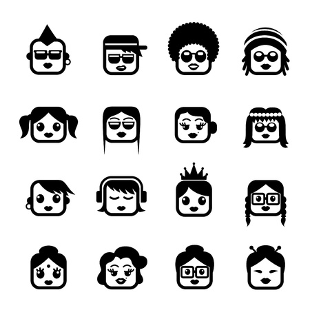 caricatura: Caras sonrientes. caracteres de las mujeres