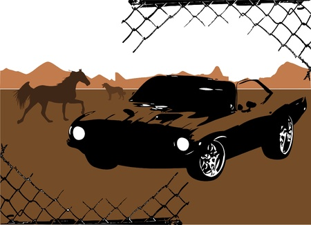 graffiti brown: grunge frame with exotic car vector